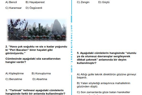 5. Sınıf Türkçe Dersi Deneme Sınavı-1