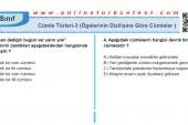 Cümle Türleri-3 (Ögelerinin Dizilişine Göre Cümleler) PDF Test İndir