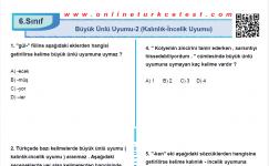 Büyük Ünlü Uyumu-2 (Kalınlık-İncelik Uyumu) İle İlgili PDF Test İndir