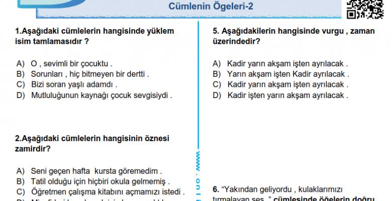 Cümlenin Ögeleri-2 PDF Test İndir