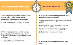 5. Sınıf Kökler ve Yapım Eki İle İlgili Online Test
