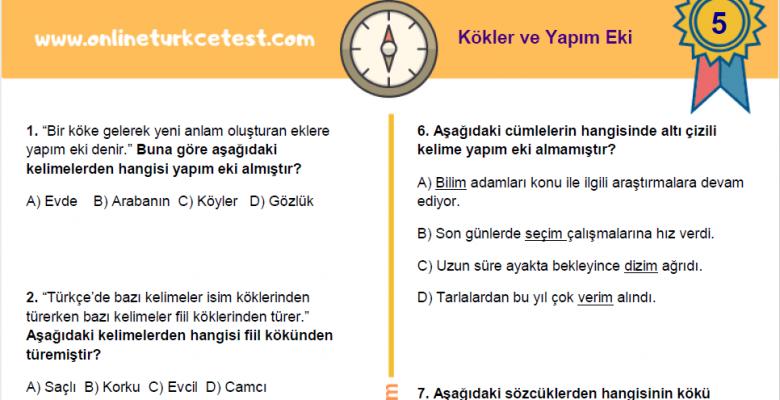 5. Sınıf Kökler ve Yapım Eki İle İlgili PDF Test İndir