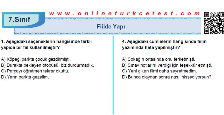 Yapısına Göre Fiiller İle İlgili PDF Test İndir