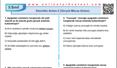 Sözcükte Anlam-2 (Gerçek-Mecaz Anlam) İle İlgili Online Test
