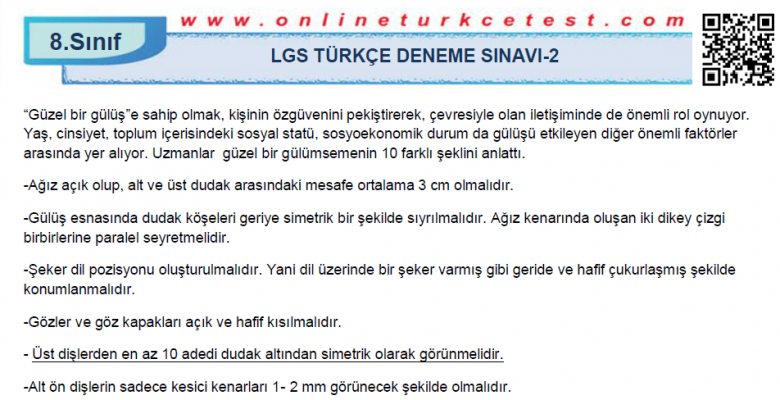 8. Sınıf Türkçe Dersi LGS Deneme Sınavı-2