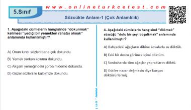 Sözcükte Anlam-1 (Çok Anlamlılık) İle İlgili Online Test