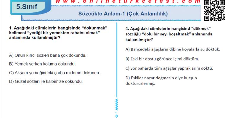 Sözcükte Anlam-1 (Çok Anlamlılık) İle İlgili PDF Test İndir