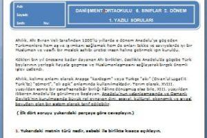 6. Sınıf Türkçe Dersi 2. Dönem 1. Yazılı Soruları