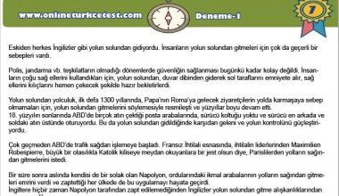 7. Sınıf Türkçe Deneme Sınavı-1