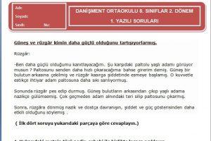 5. Sınıf Türkçe Dersi 2. Dönem 1. Yazılı Soruları