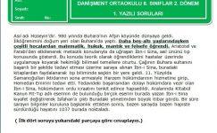 7. Sınıf Türkçe Dersi 2. Dönem 1. Yazılı Soruları