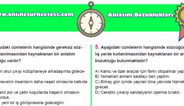 Anlatım Bozuklukları İle İlgili Online Test
