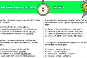 Ek Fiil-1 Online Test Soruları