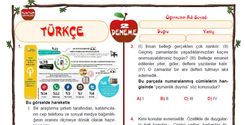 Newton Yayınları Türkçe Dersi LGS Deneme Sınavı-2