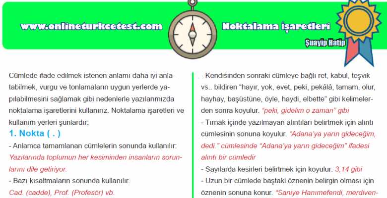 Noktalama İşaretleri İle İlgili Konu Anlatımı ve Test PDF İndir