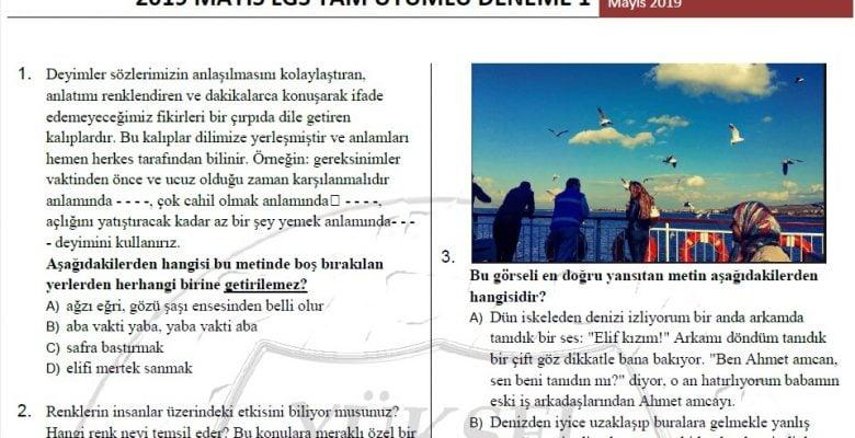 2019 Mayıs LGS Tam Uyumlu Deneme Sınavı
