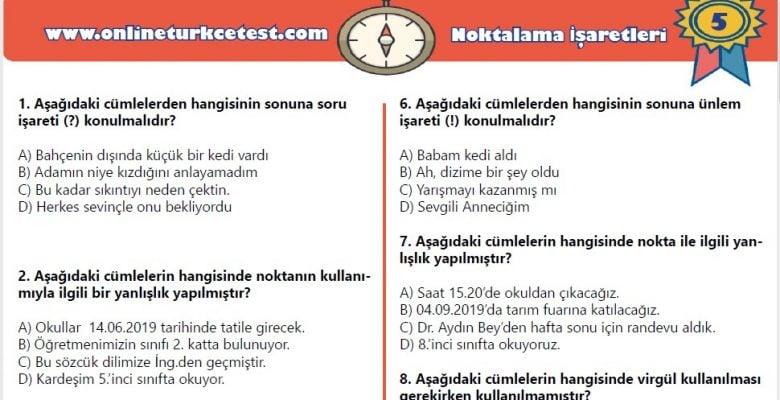 5. Sınıf Noktalama İşaretleri İle İlgili Online Test (24 Soru)