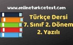 7. Sınıf Türkçe Dersi 2. Dönem 2. Yazılı Soruları