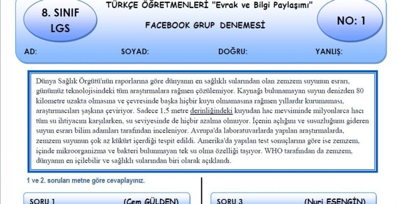 Türkçe Öğretmenleri Evrak ve Bilgi Paylaşımı Grubu 8. Sınıf LGS Türkçe Deneme Sınavı