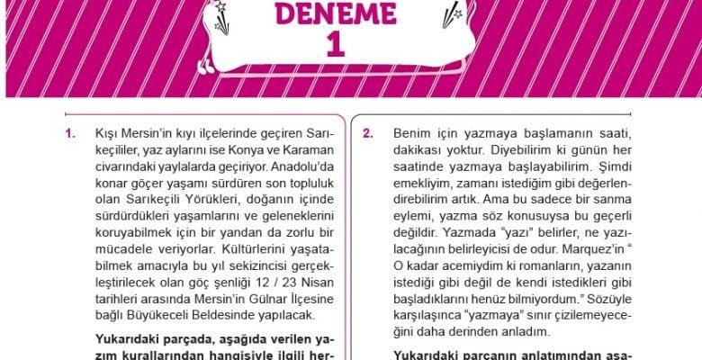 Edebiyat Doktoru Yayınları LGS Türkçe Deneme Sınavı