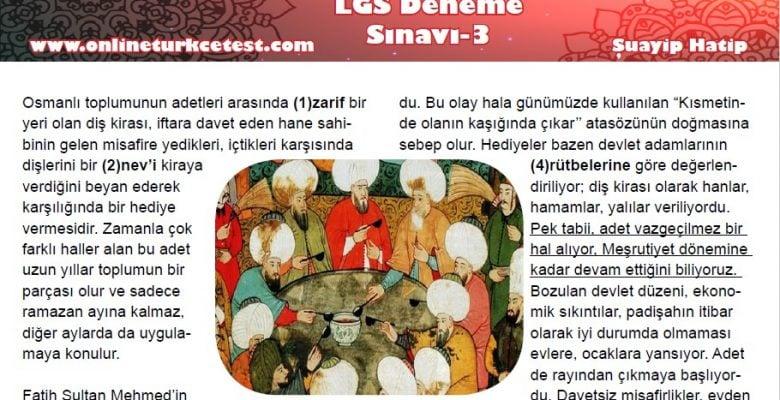 Ramazana Özel LGS Türkçe Deneme Sınavı-3