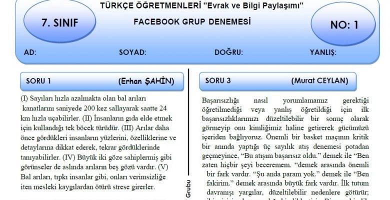 Türkçe Öğretmenleri Evrak ve Bilgi Paylaşımı Grubu 7. Sınıf Türkçe Deneme Sınavı