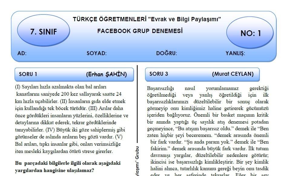 7. sınıf türkçe dersi deneme sınavı
