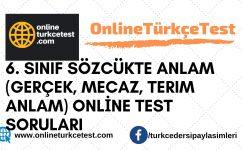 6. Sınıf Sözcükte Anlam (Gerçek, Mecaz, Terim Anlam) Online Test
