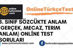 8. Sınıf Sözcükte Anlam (Gerçek, Mecaz, Terim Anlam) Online Test