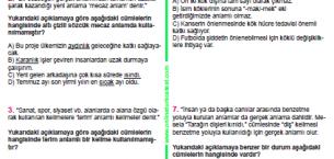 Sözcükte Anlam-1 (Gerçek, Mecaz, Terim Anlam) 30 Soru