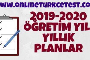 2019-2020 Öğretim Yılı Türkçe Dersi Yıllık Planlar