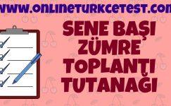 2019-2020 Öğretim Yılı Türkçe Dersi Sene Başı Zümre Toplantı Tutanağı
