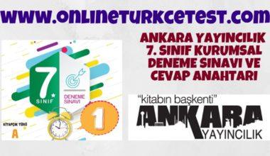 Ankara Yayıncılık 7. Sınıf 1. Kurumsal Deneme Sınavı
