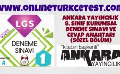 Ankara Yayıncılık 8. Sınıf LGS Deneme Sınavı – Sözel Bölüm