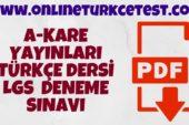 A-Kare Yayınları LGS Türkçe Deneme Sınavı İndir