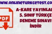 A-Kare Yayınları 5. Sınıf Türkçe Deneme Sınavı